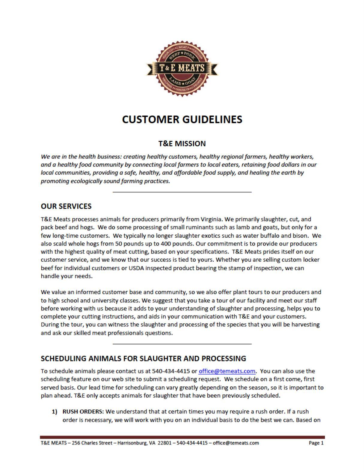 2020 customer guidelines